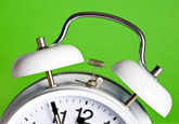 green background white clock
