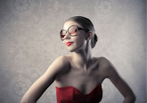 woman sunglasses red dress